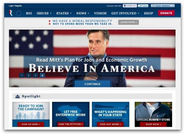 AB-Testing im politischen Wahlkampf - Homepage von Mitt Romney